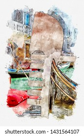 Watercolor illustration about gondola with tourists cruising a small venetian canal in Venice, Italy. Gondola is an important means of tourist transportation in Venice and also the most expensive.