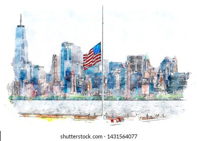 Watercolor illustration about lower Manhattan from Ellis Island. To the left, One World Trade Center, New York - USA