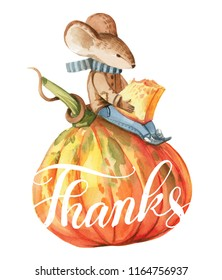 Watercolor illustration about The Thanksgiving Day isolated on white background. A little gray mouse in brown jacket and blue jeans sits on the red pumpkin and eats a piece of pumpkin.