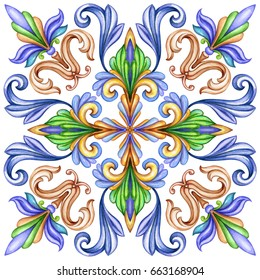 watercolor illustration, abstract decorative background, vintage pattern, medieval acanthus, ceramic tile ornament, kaleidoscope, mandala