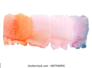 Watercolor illustration. Abstract scenic background for invitation card, flyer book cover template with watercolor background, postcards, storis. Bright warm colors