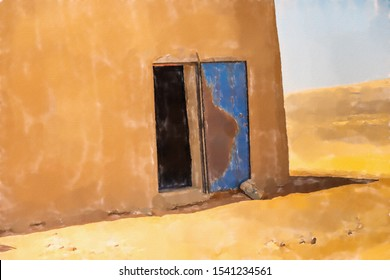 watercolor illustration: Abstract unreal picture of the corner of a house in the desert with an open blue damaged door of iron
