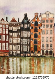 Watercolor illustration. Amsterdam. City