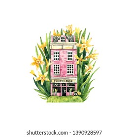 Watercolor illustration of Amsterdam house in daffodils. Sweet home in flowers, an illustration for postcards, magnet and other souvenirs.