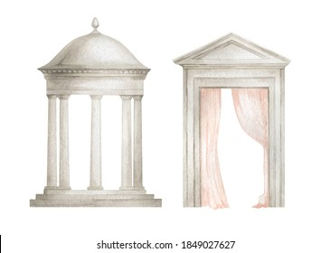 Watercolor illustration with architectural elements. Rotunda, pavilion, column, round roof, alcove in the garden, park. Garden house, Gate, door, arch.