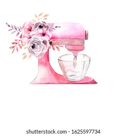 Watercolor illustration. Arrangement of pink pastry mixer and flowers. Design for print, invitation, pastry, menu, logos, etc.
