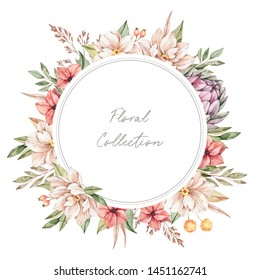Watercolor illustration. Autumn botanical frame with artichoke and wild flowers . Label with fall leaves, branches, flowers. Floral Design elements. Perfect for wedding invitations, postcards, posters