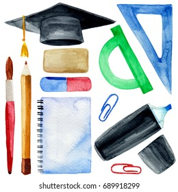 Watercolor illustration of back to school stationary with graduation cap isolated on white background