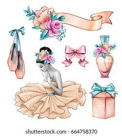 watercolor illustration, ballerina, beautiful lady portrait, flowers, gift box, wedding invitation, design elements set, fashion accessories isolated on white background