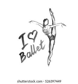 Watercolor illustration ballerina icon in dance. Design poster ballet school, studio