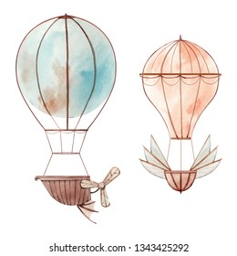 Watercolor illustration of  balloon, cute childish illustration in retro style.