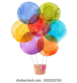 Watercolor illustration of a balloon, round watercolor stains
