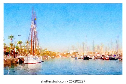 watercolor illustration barcelona marina