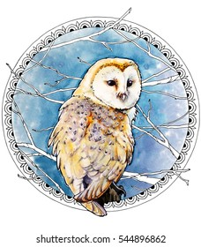 watercolor illustration of the barn owl with the outline frame