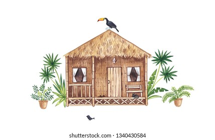 Watercolor illustration with beach house, tropical plants and toucan.