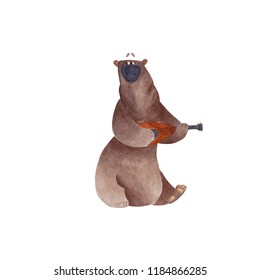 watercolor illustration of bear with ukulele on white background