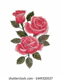 Watercolor illustration with beautiful bouquet of red roses. Greeting card,prints, textile design, packaging