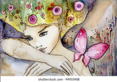 watercolor illustration of a beautiful, delicate and sensitive girl
