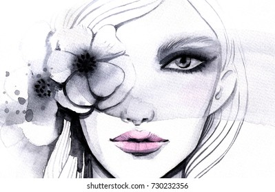Watercolor illustration of a beautiful girl with a flower on her eye.