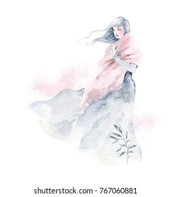 Watercolor illustration. Beautiful girl with long hair on a white background