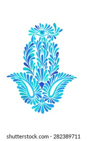 a watercolor illustration of a beautiful hamsa hand - a middle east amulet for luck and success. Paisley elements in floral composition, in blue,  on white background. motif with eye illustration