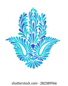 a watercolor illustration of a beautiful hamsa hand - a middle east amulet for luck and success. Paisley elements in floral composition, in blue colors, on white background. traditional motif.