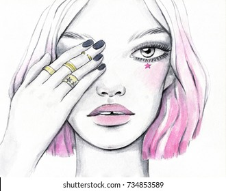 Watercolor illustration of a beautiful teen girl with pink hair and creative makeup.
