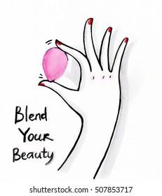 Watercolor illustration of beauty blender.