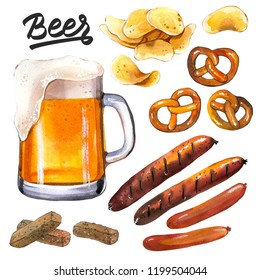 Watercolor Illustration with beer and snack. Glass, pretzel, chips, sausages. Oktoberfest traditions.
