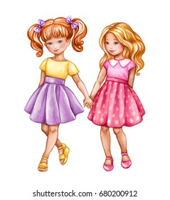 watercolor illustration, best friends, cute girls holding hands, children, teenagers clip art isolated on white background