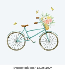 Watercolor illustration. Bicycle with a basket of flowers and butterflies on a light blue background. Romantic theme. Composition for design. Greeting card, postcard, poster
