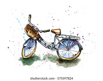 Watercolor illustration of bicycle with basket. Paint blot background