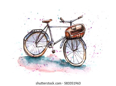 Watercolor illustration of bicycle with basket. Stylish sketch with paint blot background