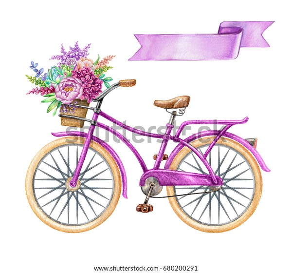 watercolor illustration, bicycle, hipster bike, blank ribbon tag, purple banner, label, wild flowers, holiday clip art isolated on white background