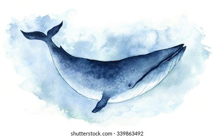 Watercolor Illustration Big Blue Whale. Isolated on the white background.