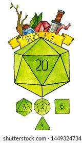 """Watercolor illustration. Big D20 dice and smaller polygonal dices for board games, rpg and tabletop games. Word """"roll"""" on a yellow banner; various game items: potion, sword, gemstone."""