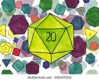 Watercolor illustration: Big D20 dice and smaller polygonal dices for board games, rpg and tabletop games scattered on the background.