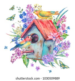 Watercolor illustration with birdhouse, birds, blooming branch of lilac, butterfly and wildflowers. Natural illustration isolated on white background