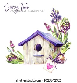 Watercolor illustration. Birdhouse with hyacinth seedlings and tag. Rustic objects. Spring collection in violet shades. ClipArt, DIY, scrapbooking elements. Holidays, wedding decoration. Nature.