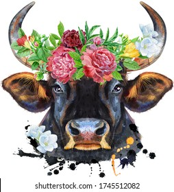 Watercolor illustration of black powerful bull in wreath of peonies and freesia