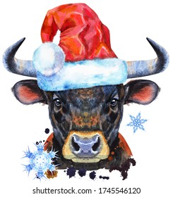 Watercolor illustration of black powerful bull in Santa hat