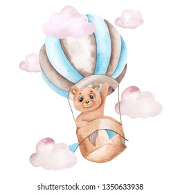 Watercolor illustration with blue air balloon and cute bear