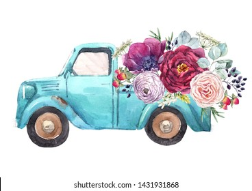 Watercolor illustration of a blue pickup with flowers. Peony, roses and ranunculus. Greeting card machine with flowers