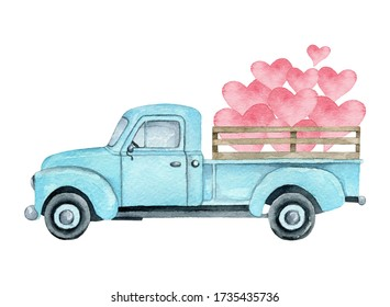 Watercolor illustration of a blue pickup truck with pink hearts isolated on a white background. Valentine's day truck.