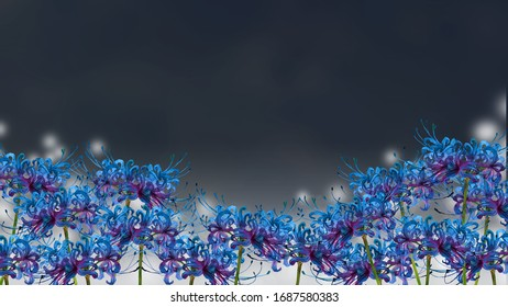 Watercolor illustration of blue spider lily