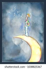 "Watercolor illustration of a book called ""Over the moon""."