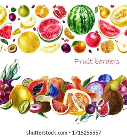 Watercolor illustration borders made of fruits. Tropical fruits. Papaya grapefruit plum pomegranate pear mandarin pitahaya passion fruit pineapple, fig, coconut, watermelon, melon, durian.