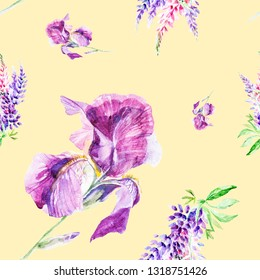 Watercolor illustration Botanical lupines and iris flowers isolated on yellow background. Seamless pattern