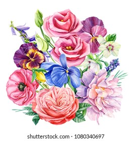 watercolor illustration, botanical painting, bouquet of flowers peony, pansy, bells, eustoma, hellebore, lisianthus, ranunculus, rose, lavender, hand drawing