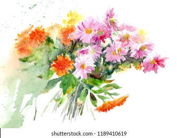 Watercolor illustration with a bouquet of autumn chrysanthemums